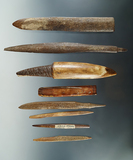 Group of 8 assorted bone Inuit artifacts found in Alaska.  Largest is 6 1/2