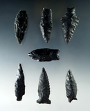 Group of seven assorted arrowheads found near Fort Rock Oregon, largest is