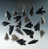 Set of 20 assorted arrowheads found in Nevada, largest is 1 5/8