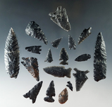 group of 17 assorted artifacts found near Fort Rock Oregon. Various styles and conditions.