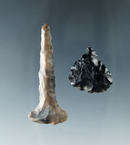 Pair of flaked artifacts including an obsidian drill and a Flint drill found in Harney County Oregon