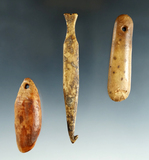 Set of three bone artifacts found in Alaska including a net weaving hook, largest is 3 7/8