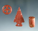 Set of three Catlinite decorations including a bead and a 1 11/16