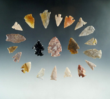 Group of assorted Southwestern U. S. Area arrowheads, largest is 1 7/16