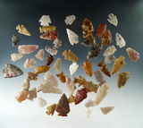 Group of 53 assorted Colorado arrowheads in various conditions, largest is 1 1/2. All Ex. Bob Roth.