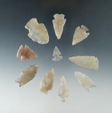 Set of 10 arrowheads found in Colorado made from highly translucent agate, largest is 1 3/8
