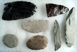 Group of seven assorted stone and obsidian artifacts found near Burns Oregon. Largest is 5 1/2