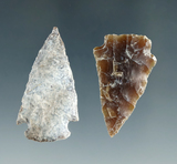 Pair of well patinated North Dakota arrowheads, largest is 1 5/8