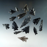 Set of 15 mostly obsidian arrowheads found near Fort Rock Oregon, largest is 1 7/8