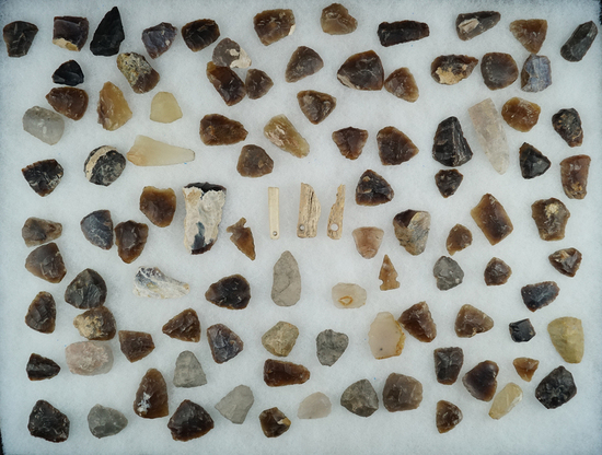 Large assortment of Knife River Flint artifacts including points and scrapers and bone, Dakotas.