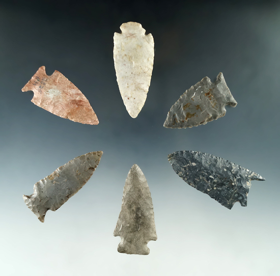 """Set of six assorted Midwestern arrowheads, largest is 2 1/2""""."""
