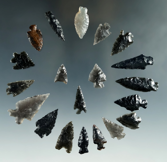 """Set of 20 assorted mostly obsidian arrowheads found in Nevada, largest is 1 3/16""""."""