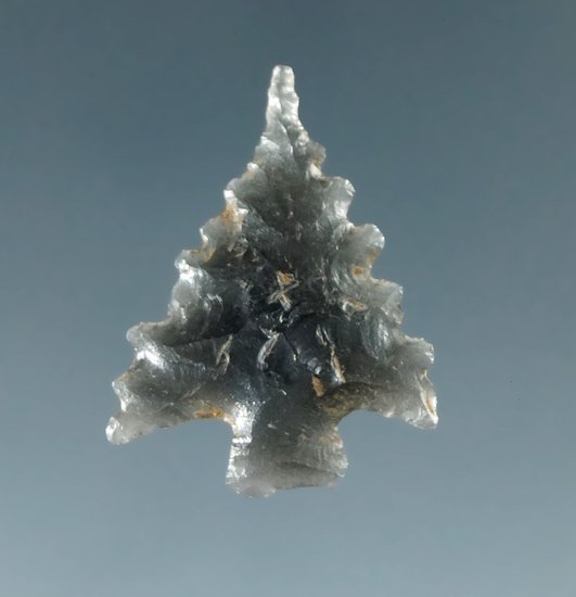 """Ex. Museum! 7/8"""" Calapooya made from Obsidian found in California. Ex. Charles Shewey."""