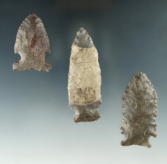 """Set of three assorted Ohio arrowheads in good condition, largest is 2 5/8""""."""