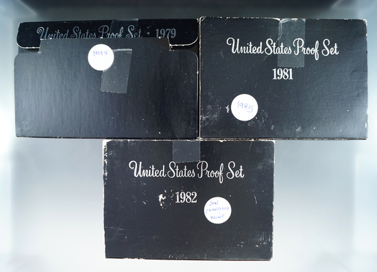 1979, 1981 and 1982 Proof Sets in Original Boxes