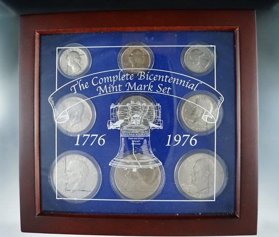 1976 Bicentennial Coin Set P, D and S Quarters, Half Dollars and Dollars BU and Proof