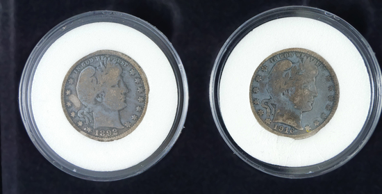 First and Last Barber Quarters 1892 G+ and 1916-D VG in Box