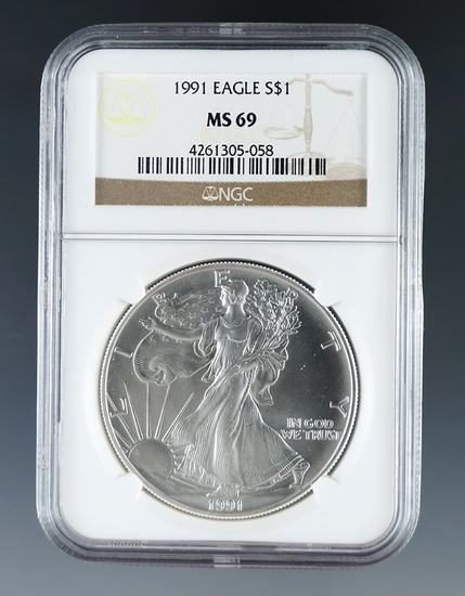 1991 American Silver Eagle Certified MS 69 by NGC
