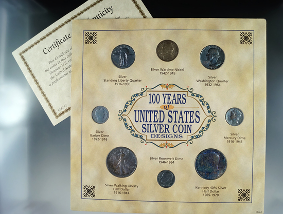 100 Years of United States Silver Coin Designs Nickel, Dimes, Quarters, Half Dollars.