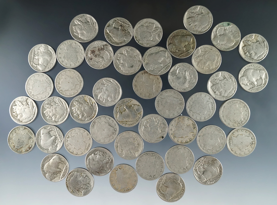 17 Liberty V Nickels and 28 Buffalo Nickels 45 Total Coins G-F