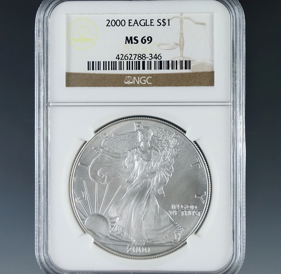 2000 American Silver Eagle Certified MS 69 by NGC