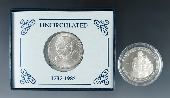 1982-D and 1982-S Washington Silver Commemorative Half Dollars BU and Proof