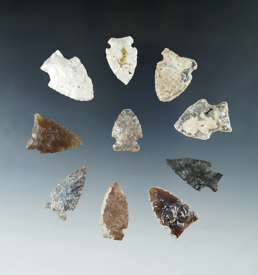 Group of 10 Assorted Arrowheads found in North Dakota, largest is 1 3/8""