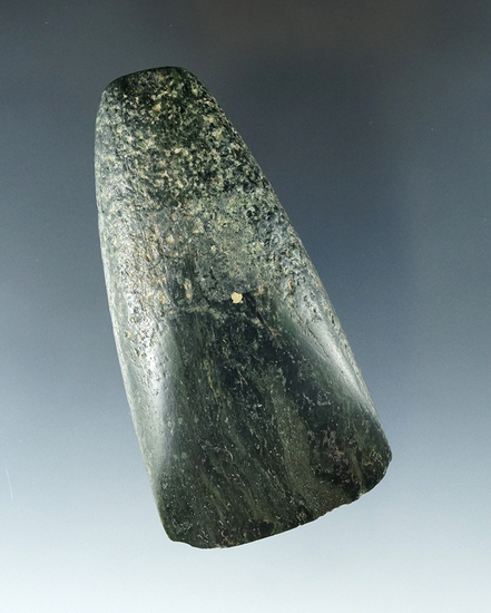 "3 3/8"" Nephrite Jade Celt with excellent polish, found in Pacific Northwest. Ex. Balazs Collection."