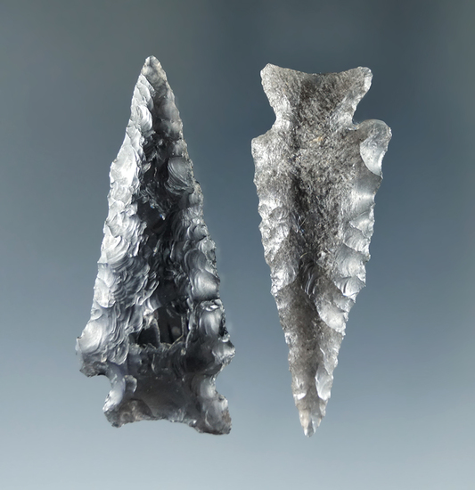 Pair of Obsidian Points found by Fred Heimbigner in the Warner Valley, Oregon on private property.
