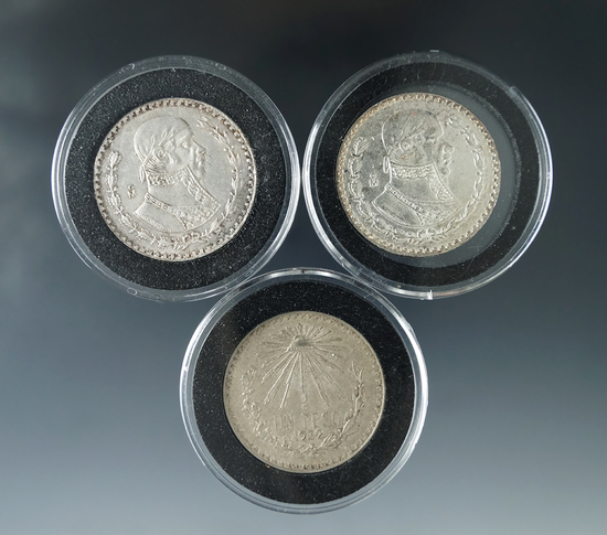 1932, 1962 and 1963 Mexican Silver Pesos XF