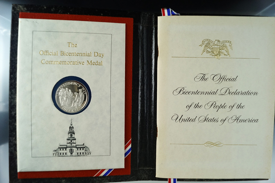 The Official Bicentennial Day Commemorative Sterling Silver Medal in Book