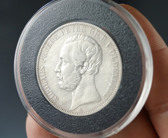 1860-B German States Oldenburg Silver Thaler VF Details Polished