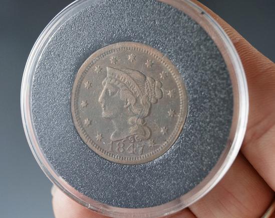 1847 Large Cent VF Details