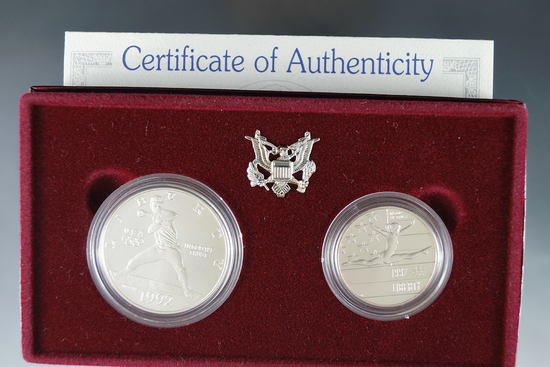 1992 Olympic Uncirculated Commemorative 2 Piece Set Half Dollar and Silver Dollar in Orig Box w/ COA