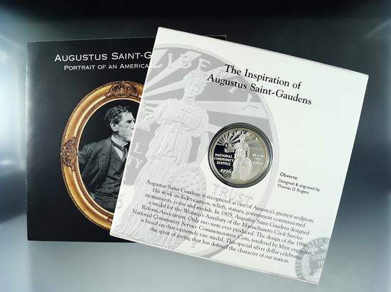 1996 National Community Service Proof Silver Dollar Commemorative Coin and Stamp Set