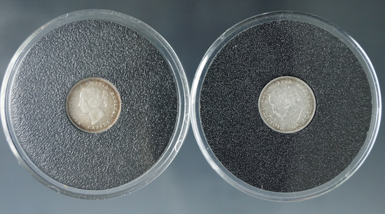 1884 and 1897 Canadian 5 Cent Silver F-VF
