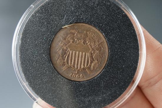 1864 2 Cent Piece XF