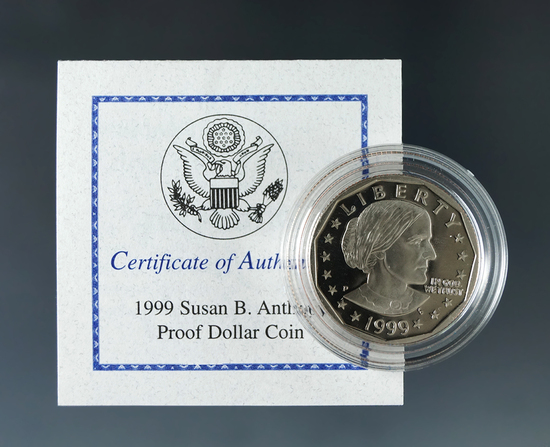 1999-P Proof Susan B Anthony Dollar in Original Box with COA