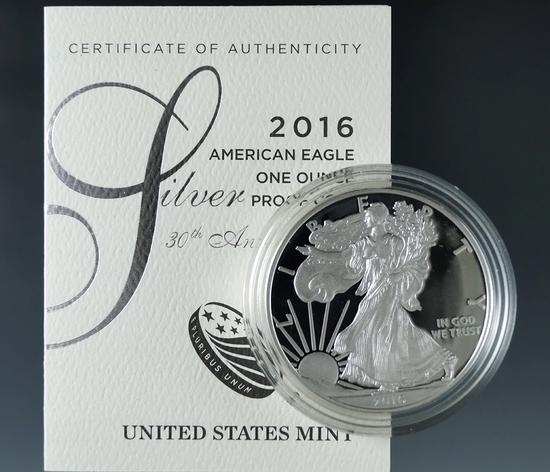 2016-W 30th Anniversary Proof American Silver Eagle in Original Box with COA