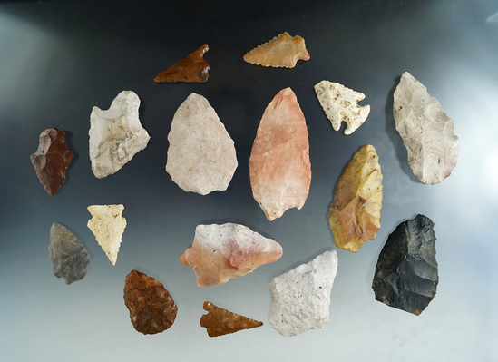 """Group of 16 Florida/Georgia assorted arrowheads, largest is 3 1/2""""."""