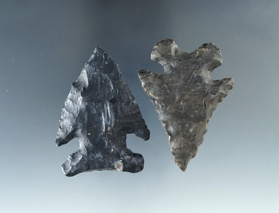 """Paif of Ohio Thebes made from Black Coshocton Flint, largest is 2 1/16""""."""
