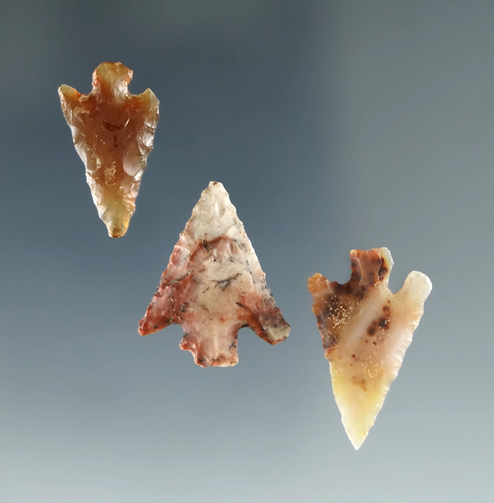 """Set of 3 Columbia River Gempoints found near the Wakemap Mound, largest is 13/16""""."""