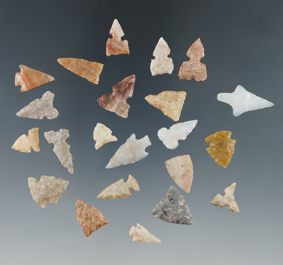 """Group of 22 assorted arrowheads found in Kansas, largest is 3/4"""". Ex. Bob Roth Collection."""