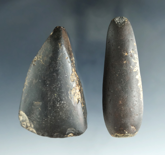 """Pair including a 2 1/2"""" Celt found near the Columbia River and a stone tool, Washington."""