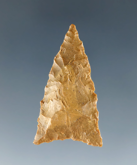 "1 1/16"" Cottonwood Triangle made from Tan Jasper, found in California. Ex. Shewey. Davis COA."