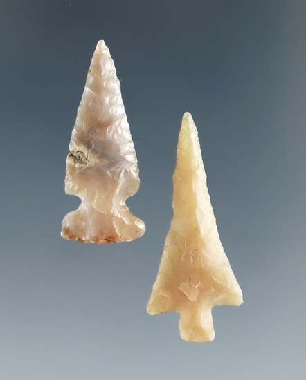 """Pair of Columbia River Gempoints, largest is 1 1/16"""". Ex. Harold J. Williams Collection."""