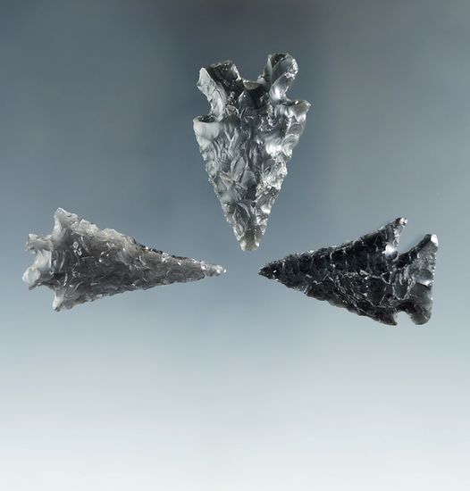 """Set of 3 Obsidian arrowheads found in Lake Co., Oregon, largest is 1 5/8"""". Ex. Hank Casiday."""