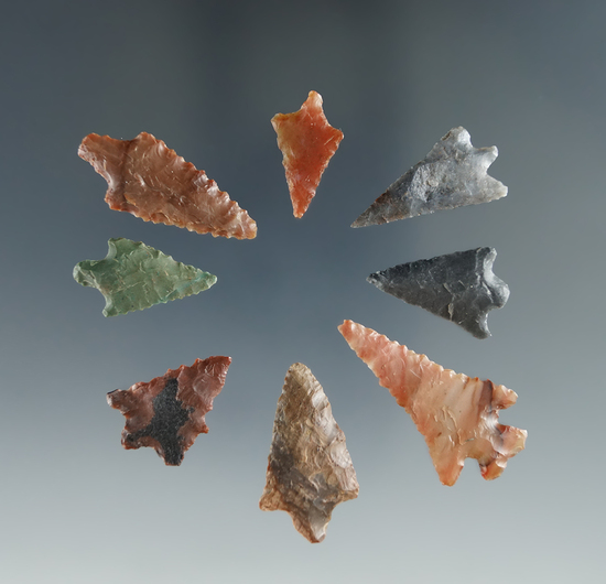 """Set of 8 Columbia River Gempoints, largest is 1 1/8""""."""