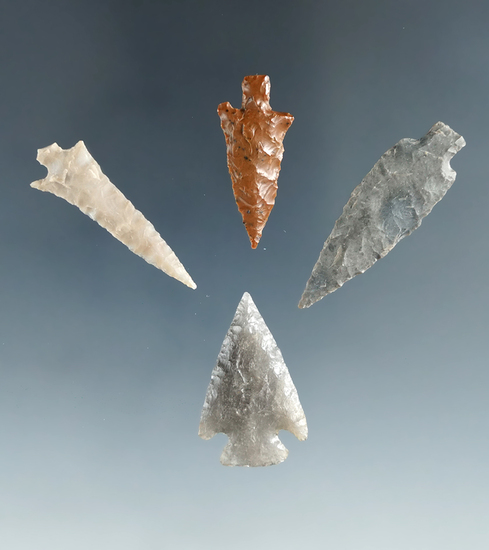 """Set of 4 Columbia River gempoints, largest is 1 1/2""""."""
