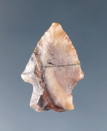 """1"""" Samantha Arrow point made from attractive multicolored material found in the High Plains region."""